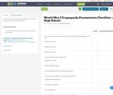 World War I Propaganda Presentation Checklist —High School