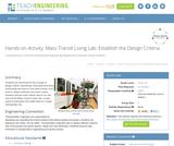 Mass Transit Living Lab: Establish the Design Criteria