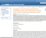 Craigslist and the Economy: Predicting Unemployment and Foreclosure Trends from Online Classified Advertisements