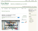 Materials 1: An Introduction to Global Resources and Reserves