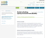 Guide to finding openly-licensed texts (SLASL)