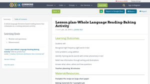 lesson plan whole language reading baking activity oer commons