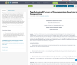 Psychological Factors of Consumerism-Analysis in Composition