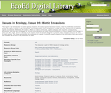 Issues in Ecology, Issue 05: Biotic Invasions