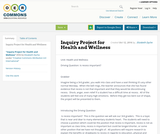Inquiry Project for Health and Wellness