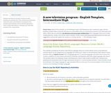 A new television program - English Template, Intermediate High