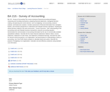 BA 215 - Survey of Accounting