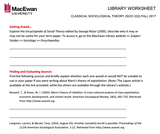 Classical Sociological Theory Library Worksheet