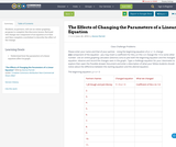 The Effects of Changing the Parameters of a Linear Equation