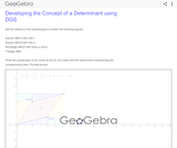 Developing the Concept of a Determinant using DGS
