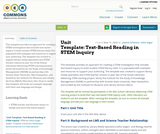 Unit Template: Text-Based Reading in STEM Inquiry