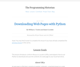 The Programming Historian 2: Working With Web Pages