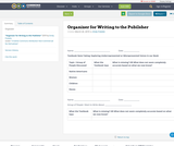 Organizer for Writing to the Pubilsher
