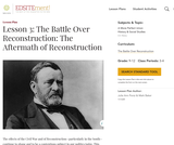 Lesson 3: The Battle Over Reconstruction: The Aftermath of Reconstruction