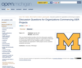 Discussion Questions for Organizations Commencing OER Projects