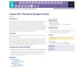 CS Discoveries 2019-2020: Interactive Animations and Games Lesson 3.2: The Game Design Process