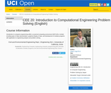 CEE 20: Introduction to Computational Engineering Problem Solving (English)