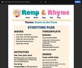 Romp & Rhyme Storytime Lesson Plan: Down on the Farm