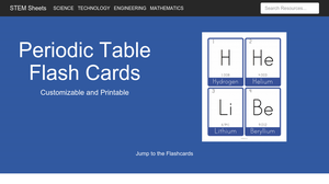 periodic table of elements flash cards