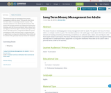 Long Term Money Management for Adults