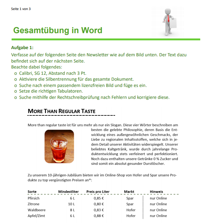Arbeitsblatt Word Gesamtübung