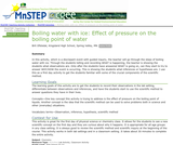 Boiling Water With Ice: Effect of Pressure on the Boiling Point of Water