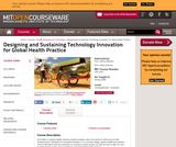 Designing and Sustaining Technology Innovation for Global Health Practice, Spring 2008