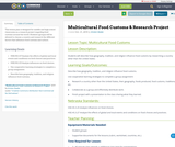 Multicultural Food Customs & Research Project
