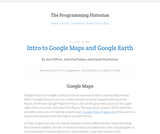 The Programming Historian 2: Introduction to Google Maps and Google Earth