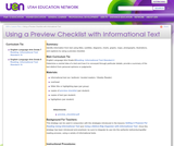Using a Preview Checklist with Informational Text
