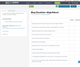 Blog Checklist—High School