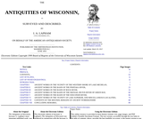 Antiquities of Wisconsin as Surveyed and Described by I. A. LAPHAM (1885)