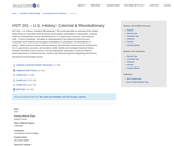 HST 201 - US History: Colonial & Revolutionary
