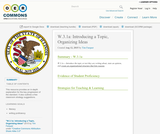 W.3.1a: Introducing a Topic, Organizing Ideas