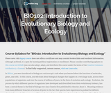 Introduction to Evolutionary Biology and Ecology