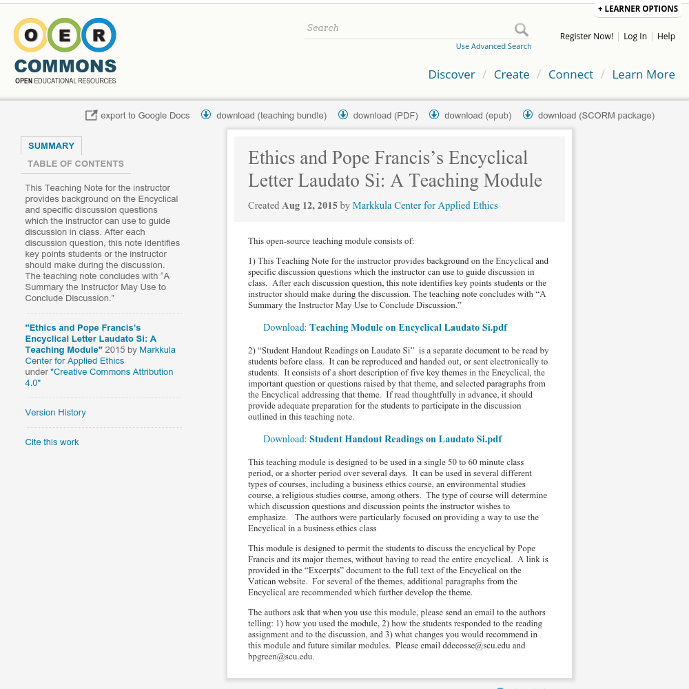 ethics and pope franciss encyclical letter laudato si a teaching module jesuit commons