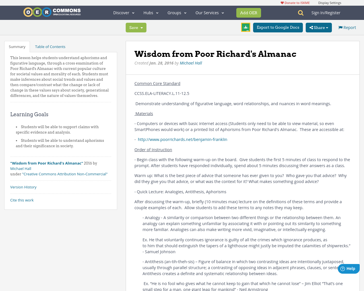Wisdom From Poor Richards Almanac Oer Commons