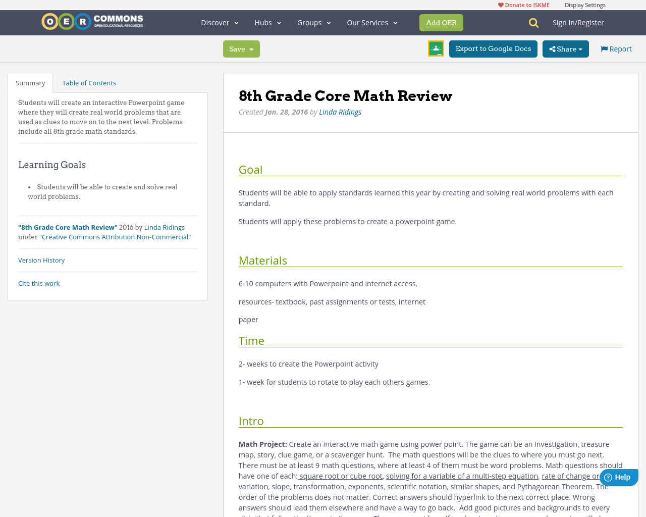 8th Grade Core Math Review | OER Commons