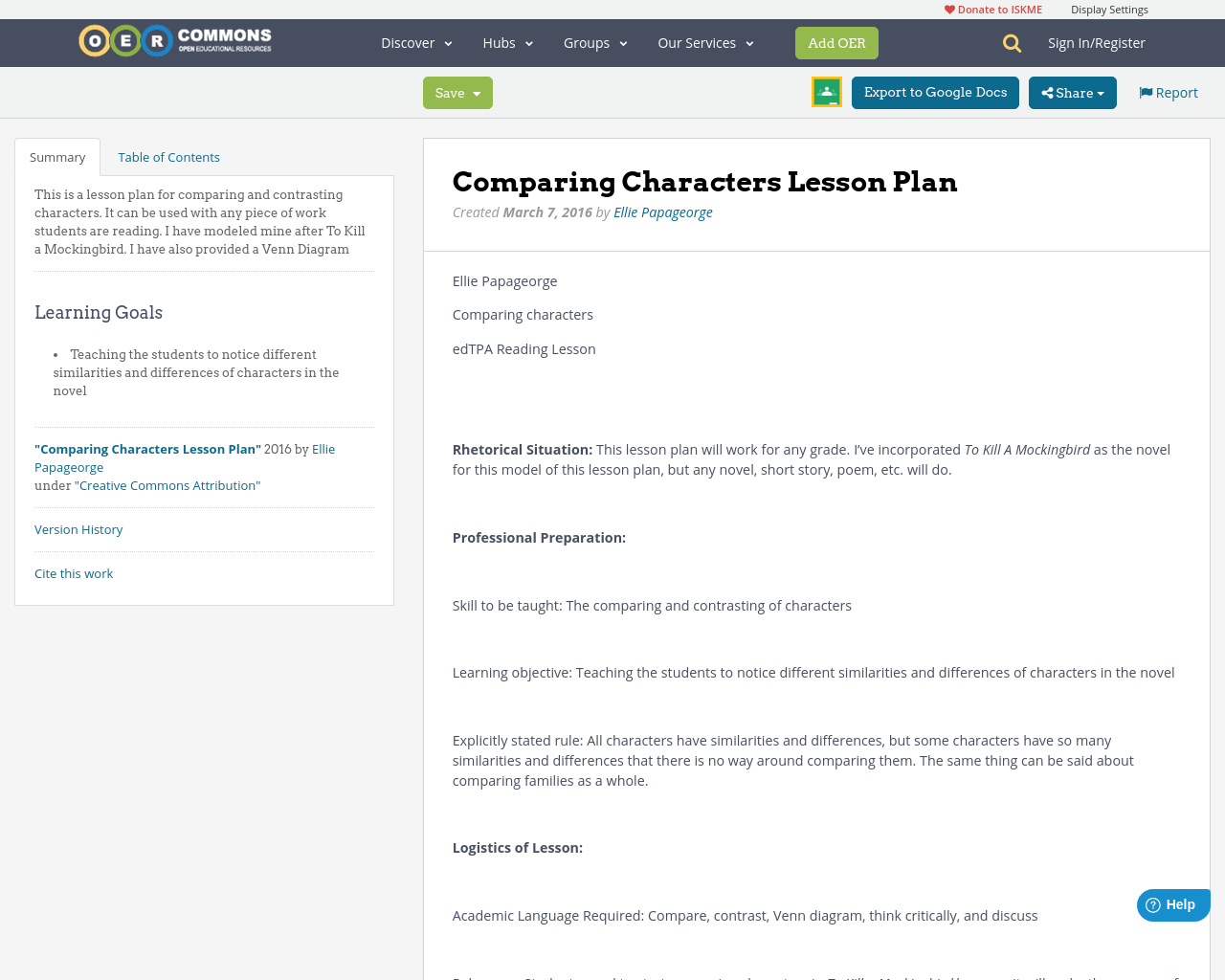 Comparing characters lesson plan oer commons pooptronica Gallery