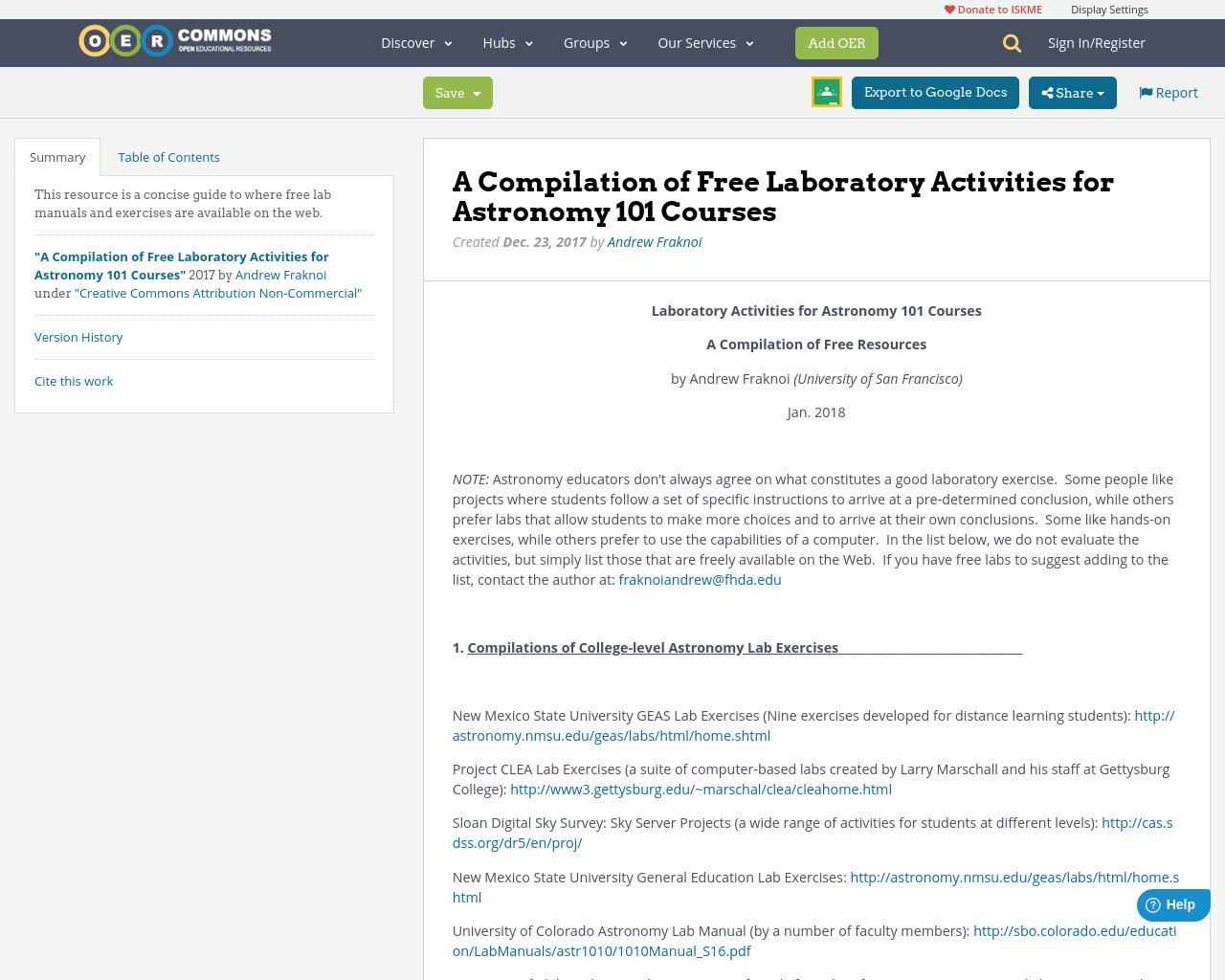 A Compilation of Free Laboratory Activities for Astronomy 101 Courses | OER  Commons