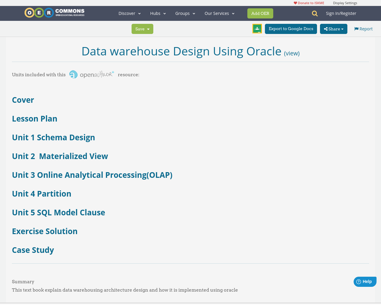 sc 1 st  OER Commons & Data warehouse Design Using Oracle | Unit 4 Partition | OER Commons