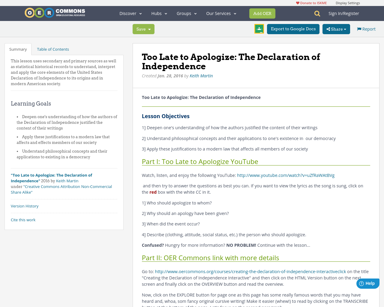 too late to apologize the declaration of independence oer commons