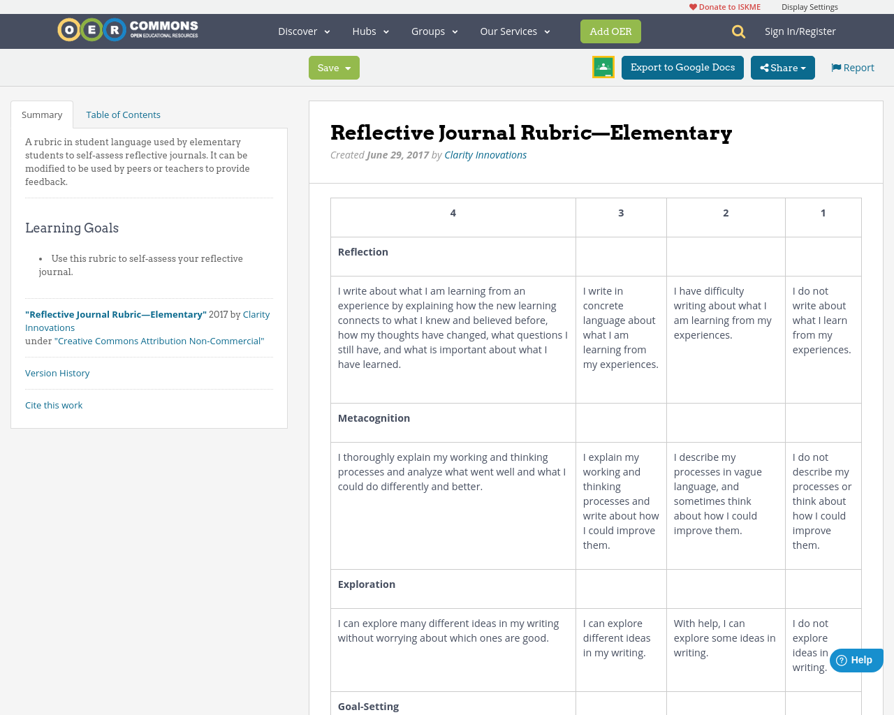 reflective journal rubricelementary oer commons