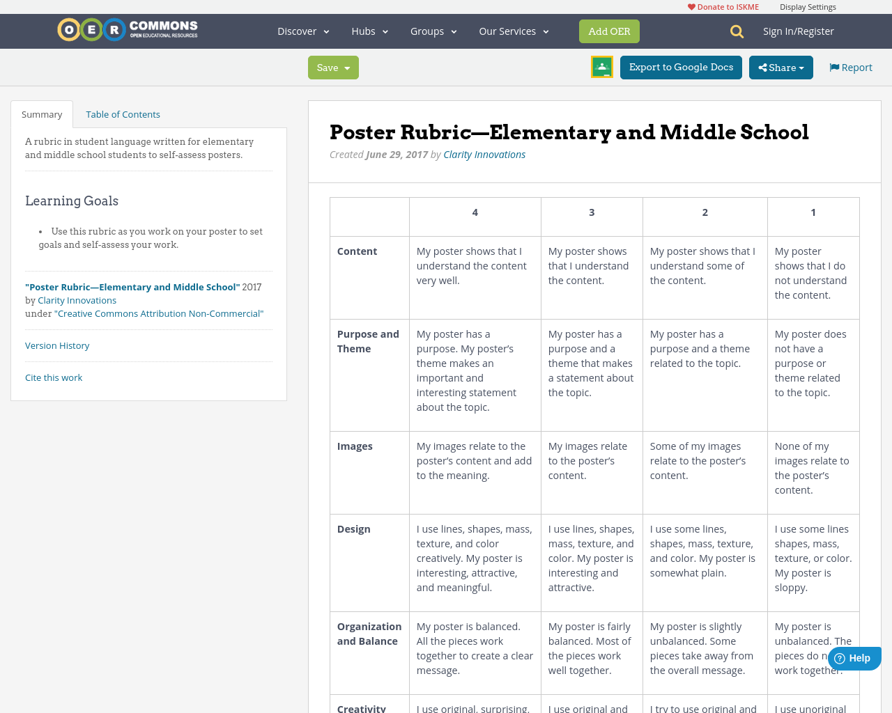 poster rubric u2014elementary and middle school
