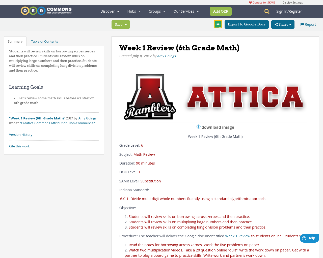 Week 1 Review 6th Grade Math Oer Commons