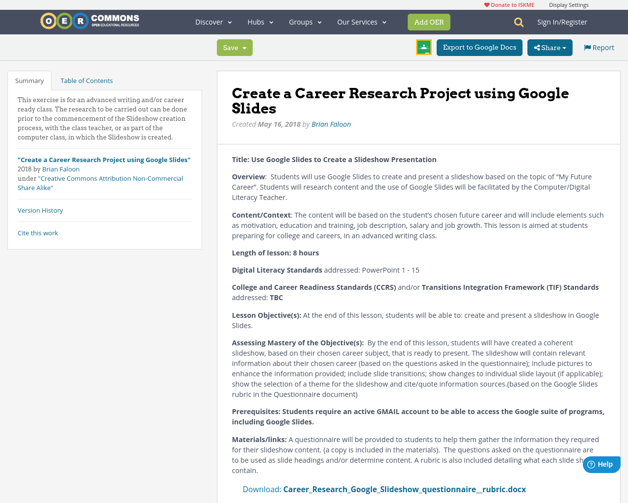 create a career research project using google slides oer commons