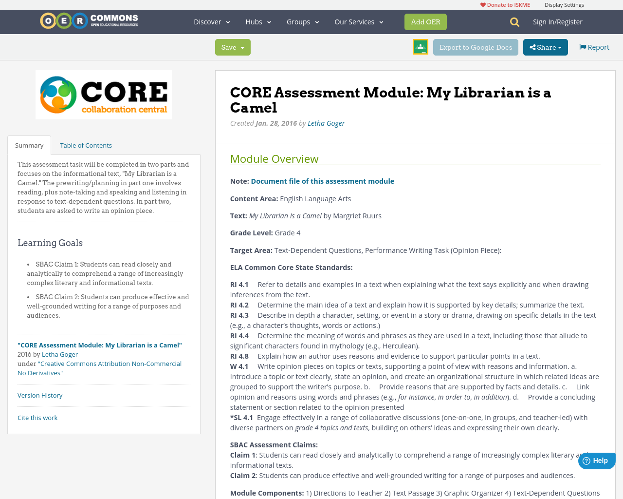Core assessment module my librarian is a camel oer commons fandeluxe Images