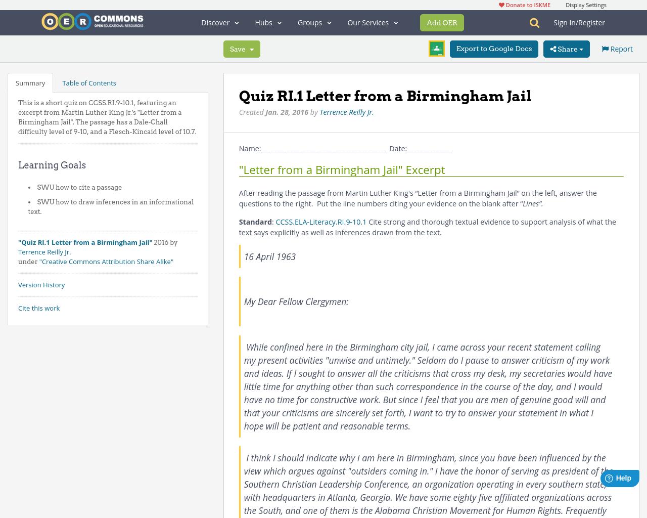 worksheet Letter From Birmingham Jail Worksheet Answers quiz ri 1 letter from a birmingham jail oer commons