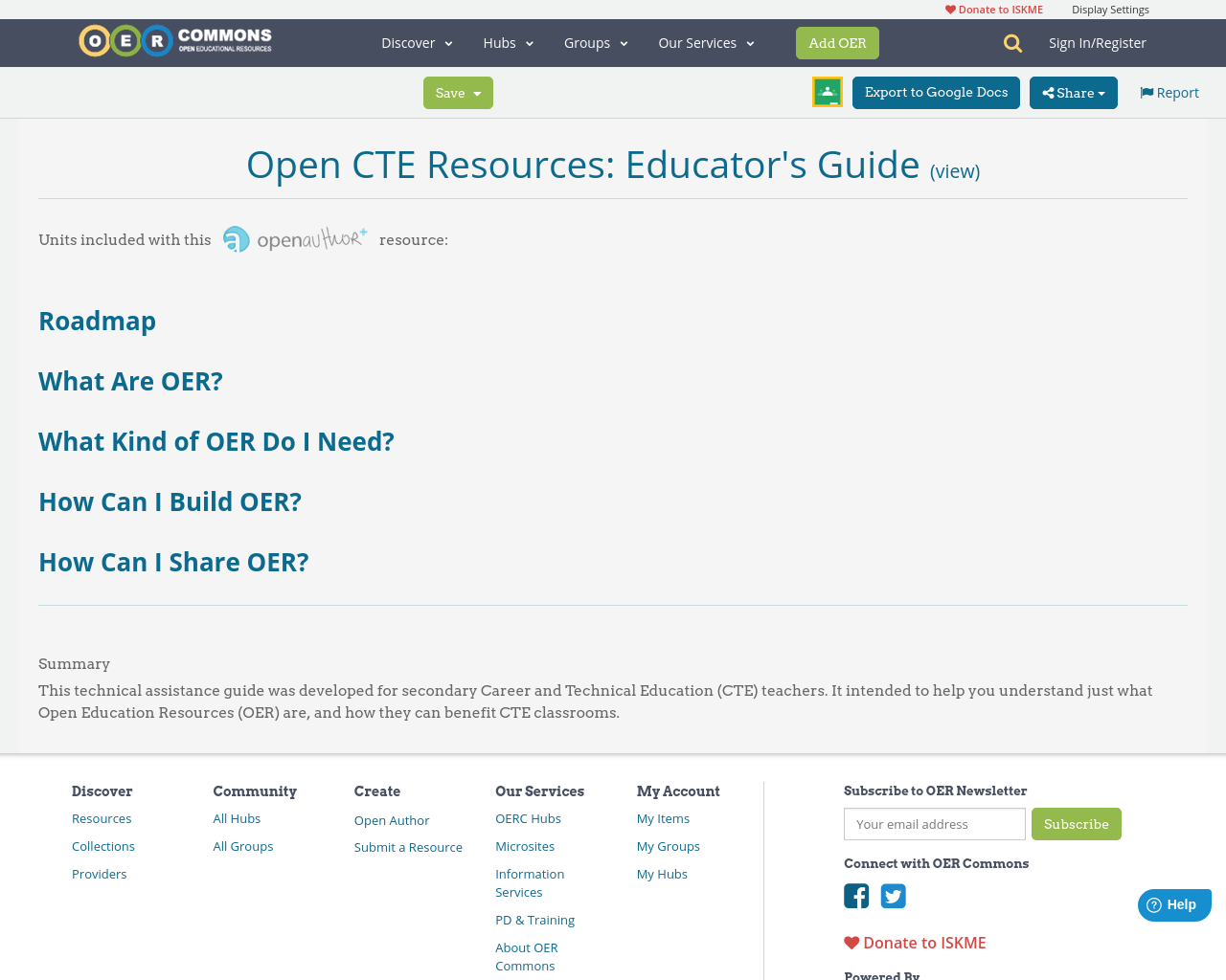 Open CTE Resources: Educator's Guide   What Are OER?   OER Commons