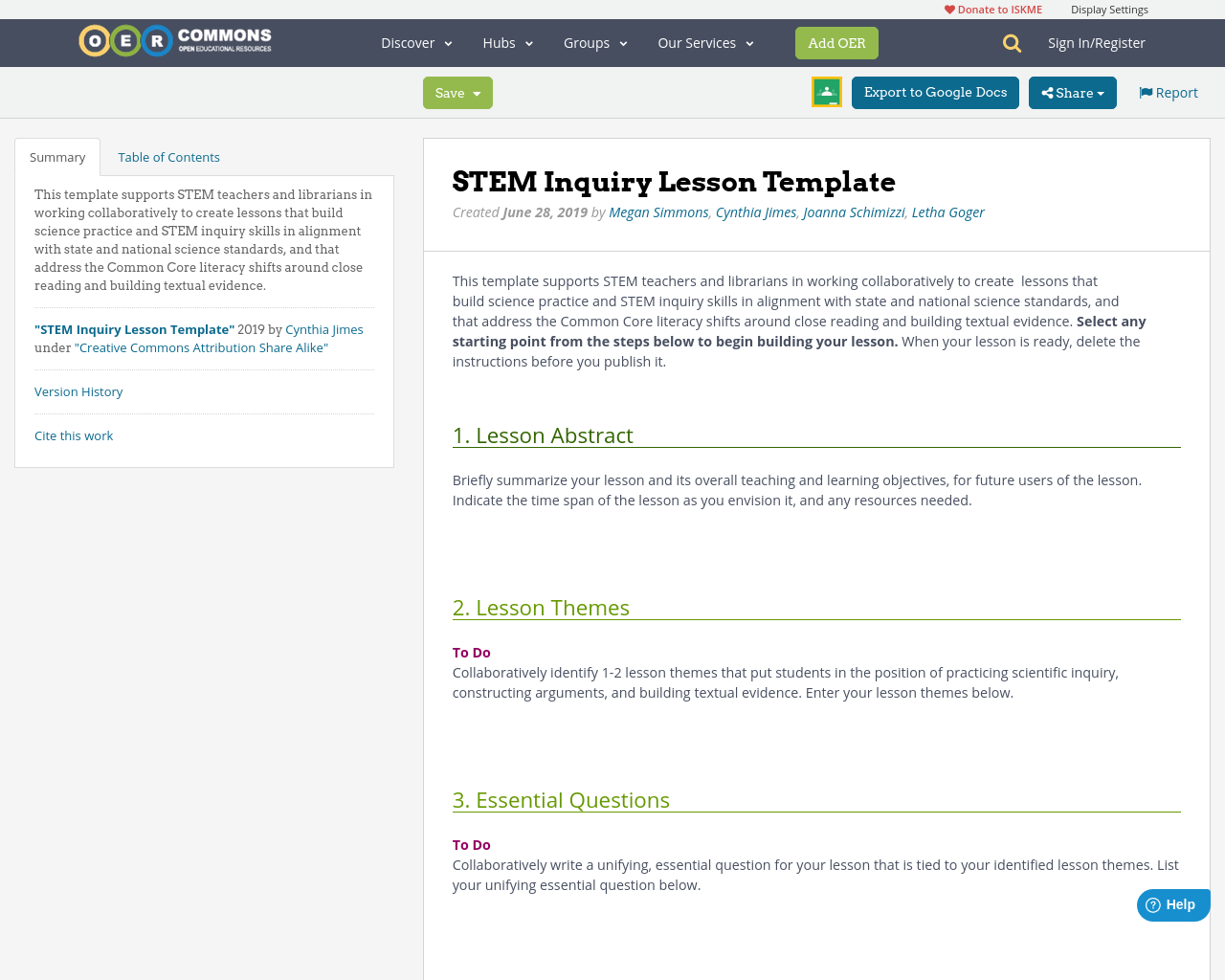 STEM Inquiry Lesson Template | OER Commons